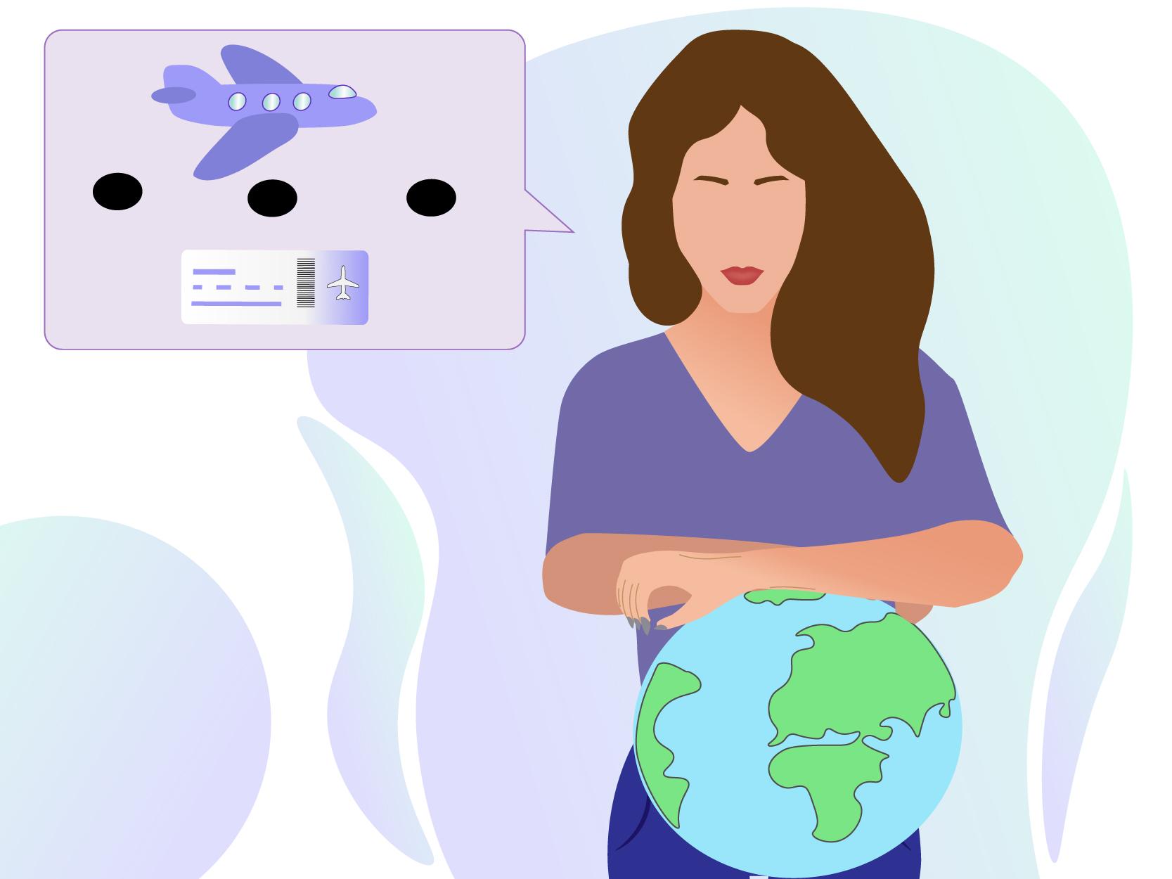 Au pair in een paas shirt die haar armen laat leunen op een wereldbol. Naast haar is een paars vlak te zien met een vliegtuig en een boarding pass