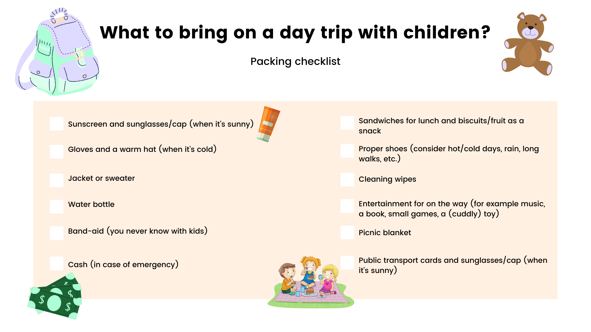 infographic what to bring on a day trip with children