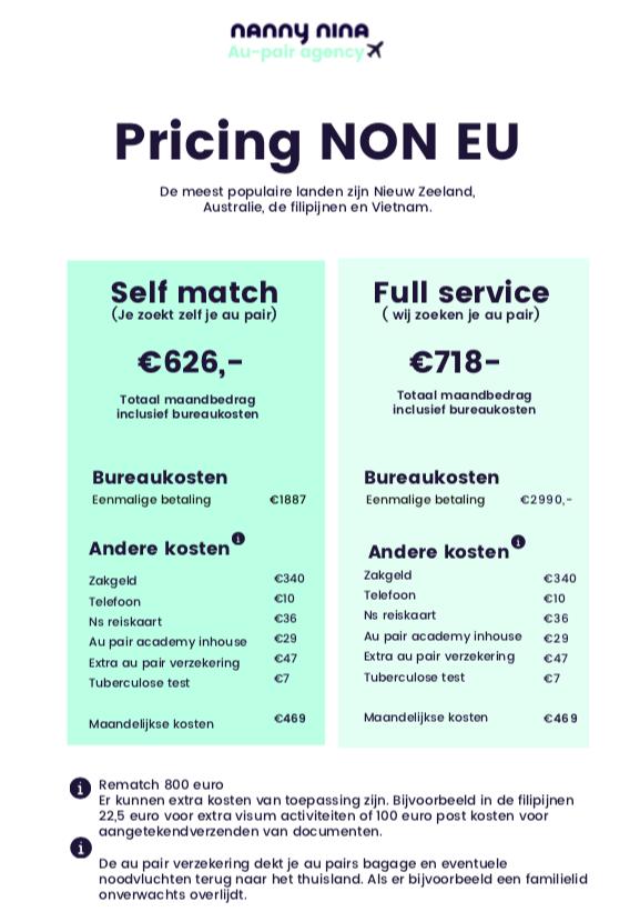 Kosten van au pairs van buiten de EU