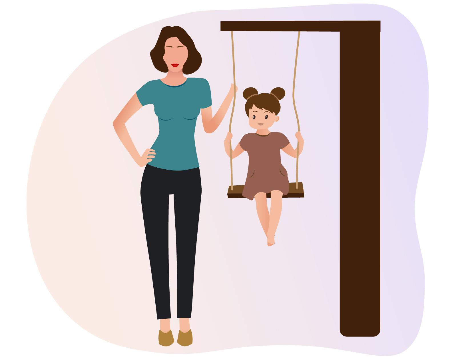 Oppas maar het oppaskindje in de speeltuin aan het schommelen Oppas draag een broek met blauw T-shirt en het kindje heeft een roze jurk aan