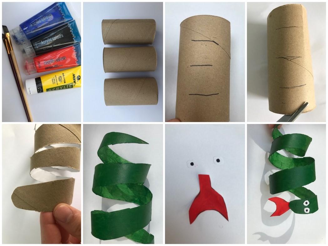 acht fotos van een wc rol knutsel voor het maken van een slang