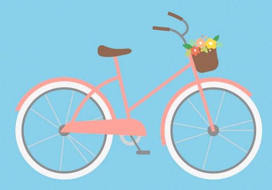 Roze fiets met witte banden, een bruin zadel en een bruin mandje met bloemetjes erin. De fiets wijst naar rechts en de achtergrond is licht blauw
