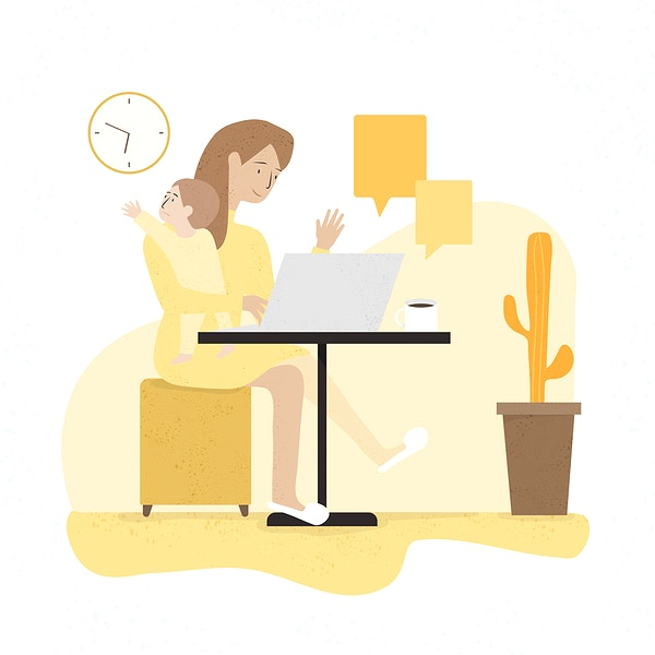 Een illustratie van een nanny met een baby in haar hand. Ze zit aan tafel met een computer voor zich. De baby kijkt over haar schouder en probeert iets te pakken. De achtergrond is oranje