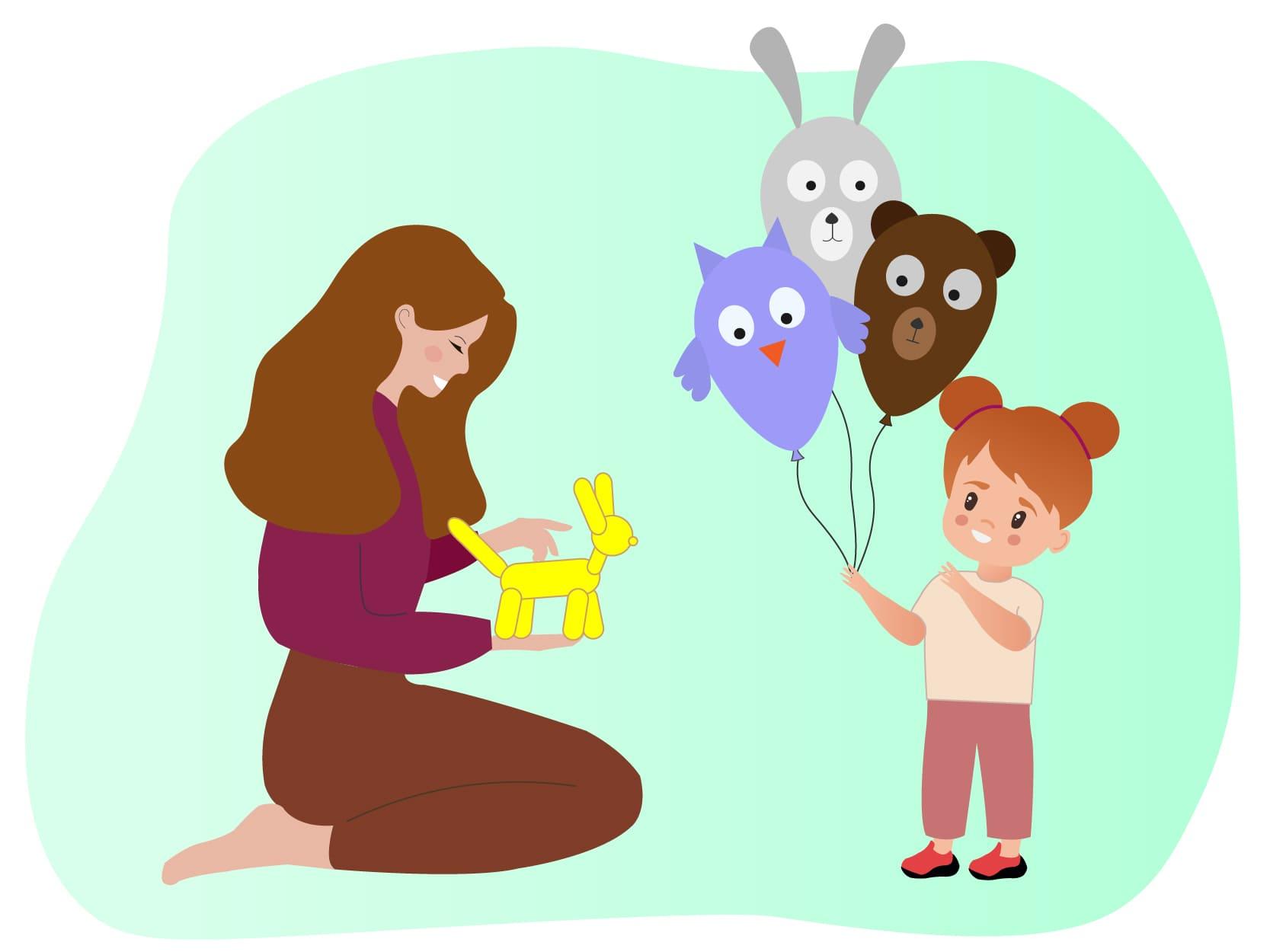 oppas met een ballonnenhondje in haar hand en een kind met drie dierenballonnen in haar hand