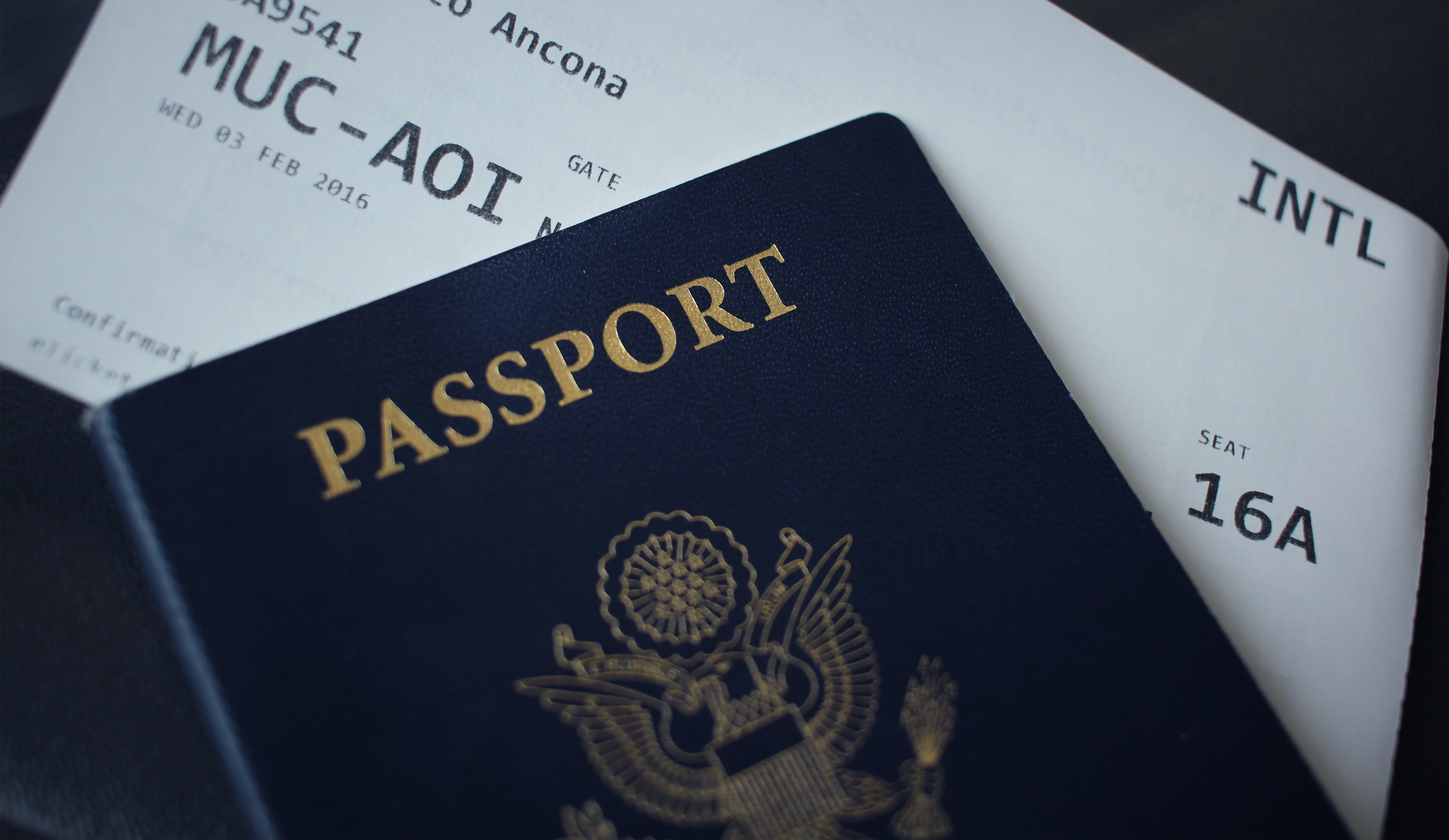 Passport and boarding pass for the au pair to go abroad