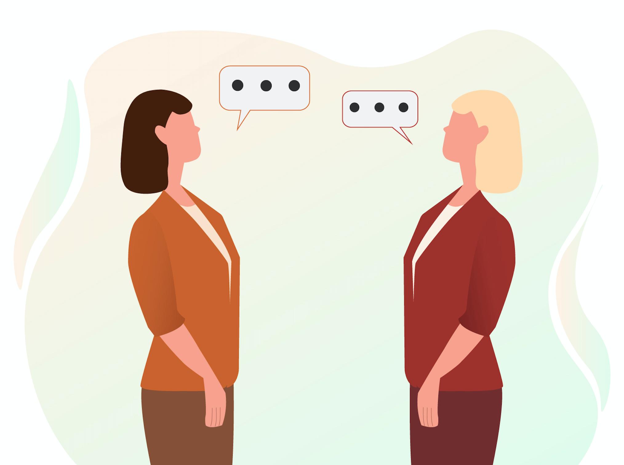 Twee dames die allebei in het rood kleed zijn die tegen elkaar praten tussen de dames in twee tekstwolkjes met drie puntjes erin