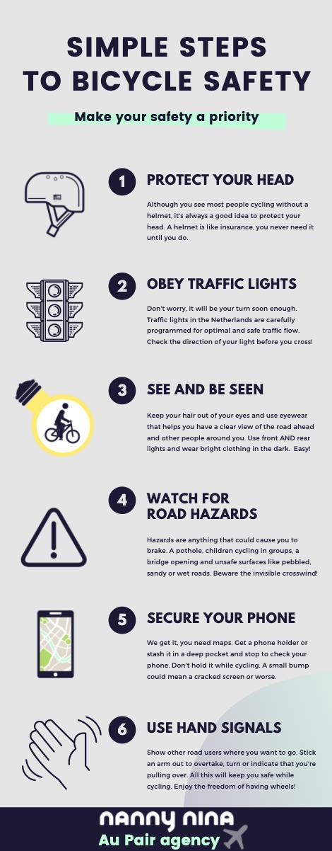 Tips om veilig met je kind te fietsen uitgelegd in een leuke infographic van nanny nina au pair agency