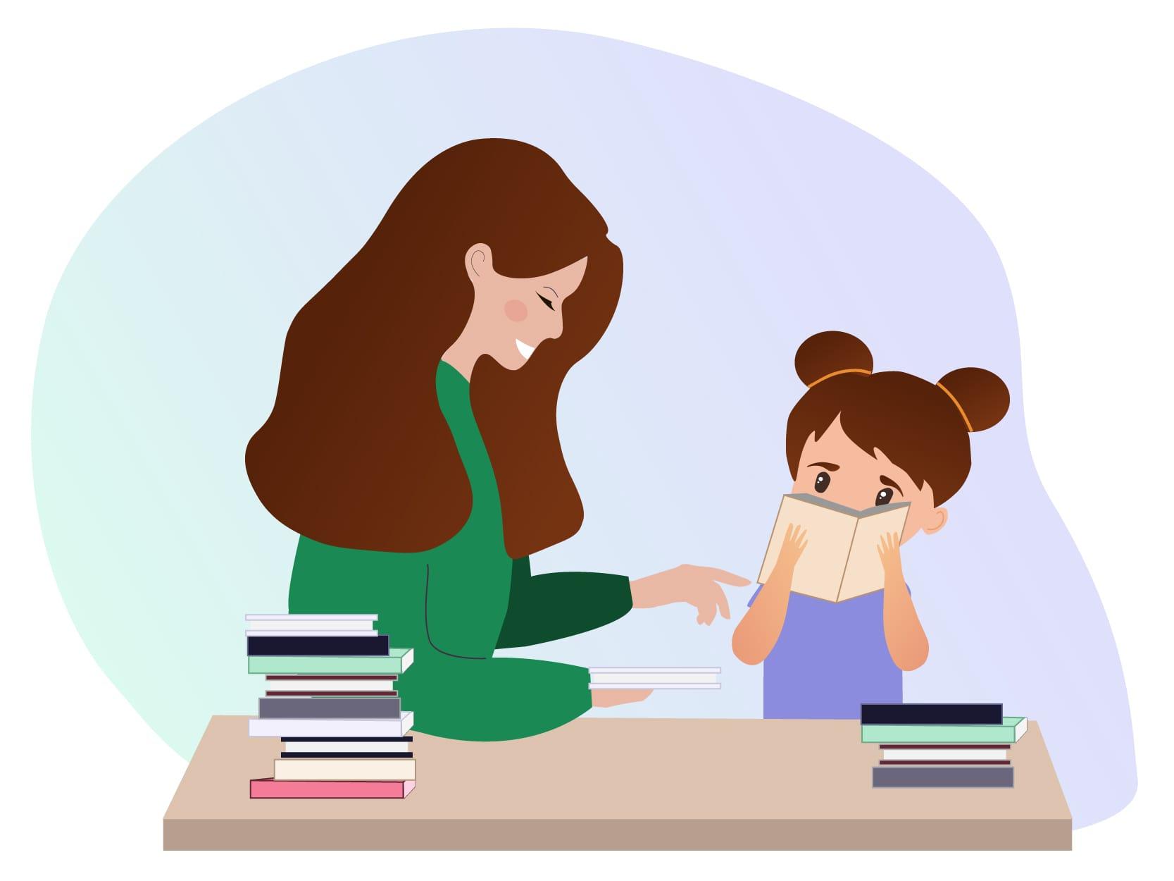 Nanny die samen met haar oppaskindje thuis aan tafel zit en haar helpt met het lezen van boeken