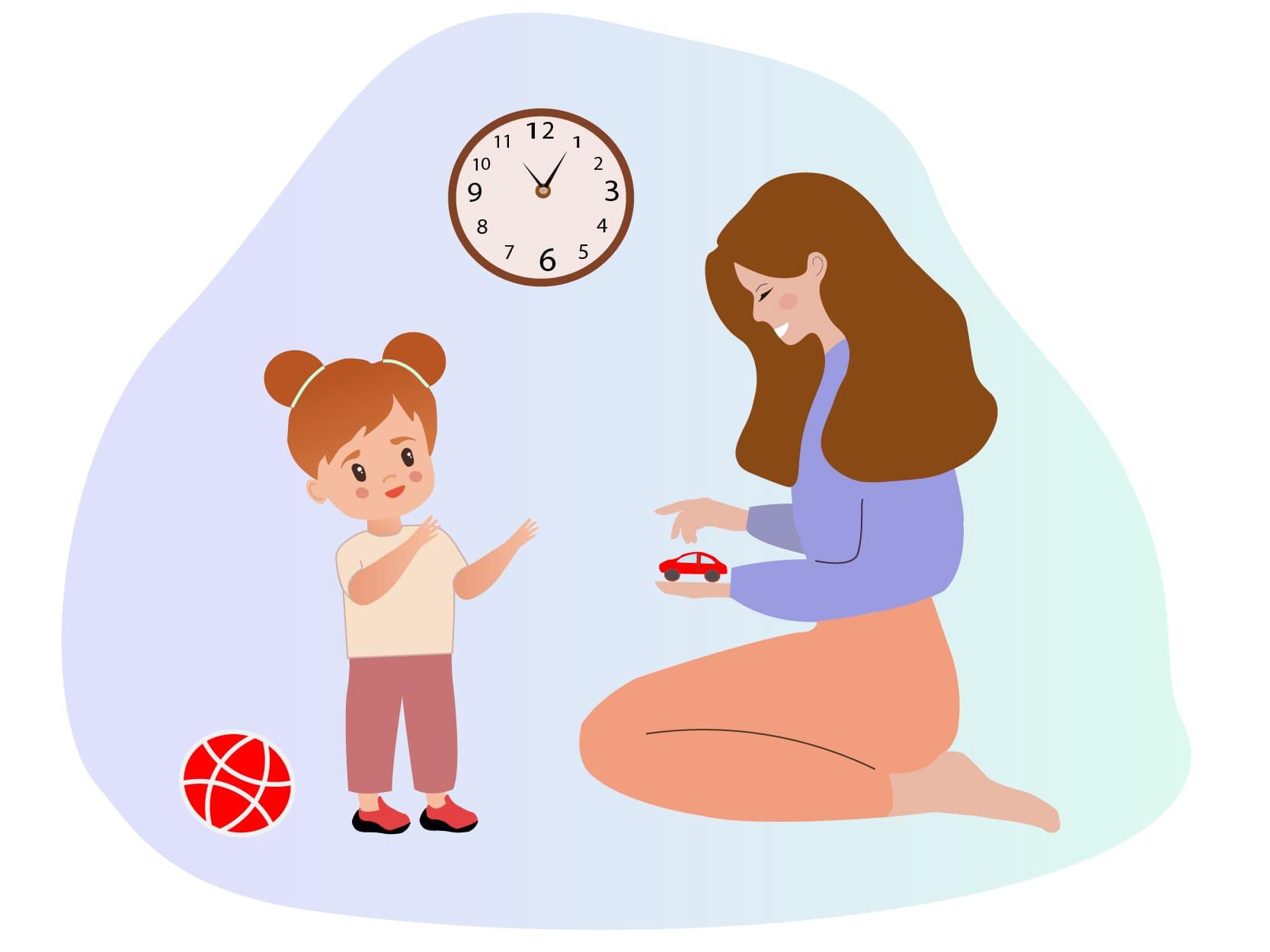 Oppas aan huis die met het oppaskindje speelt omdat de ouders hebben gekozen voor kinderopvang aan huis