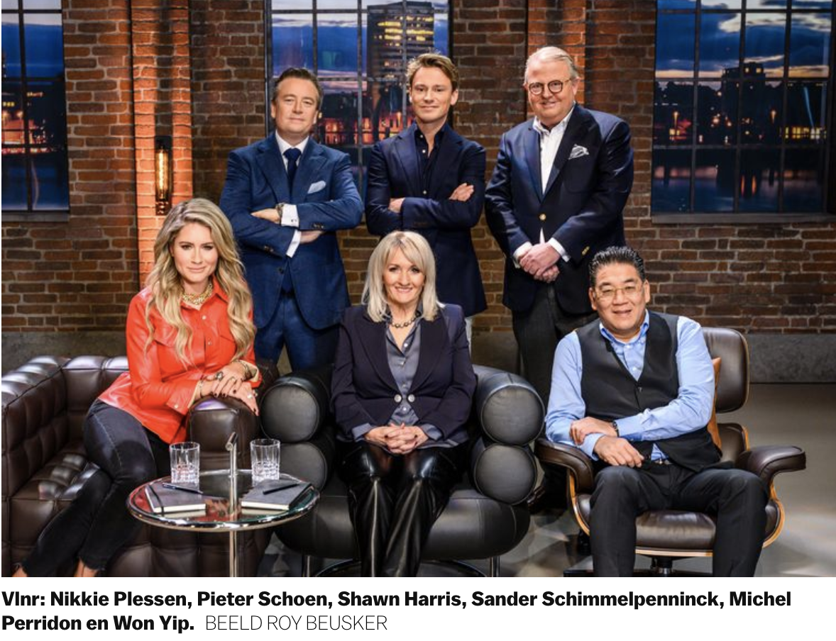 Dragons van tv show dragons den investeren in Nanny Nina oppasservice