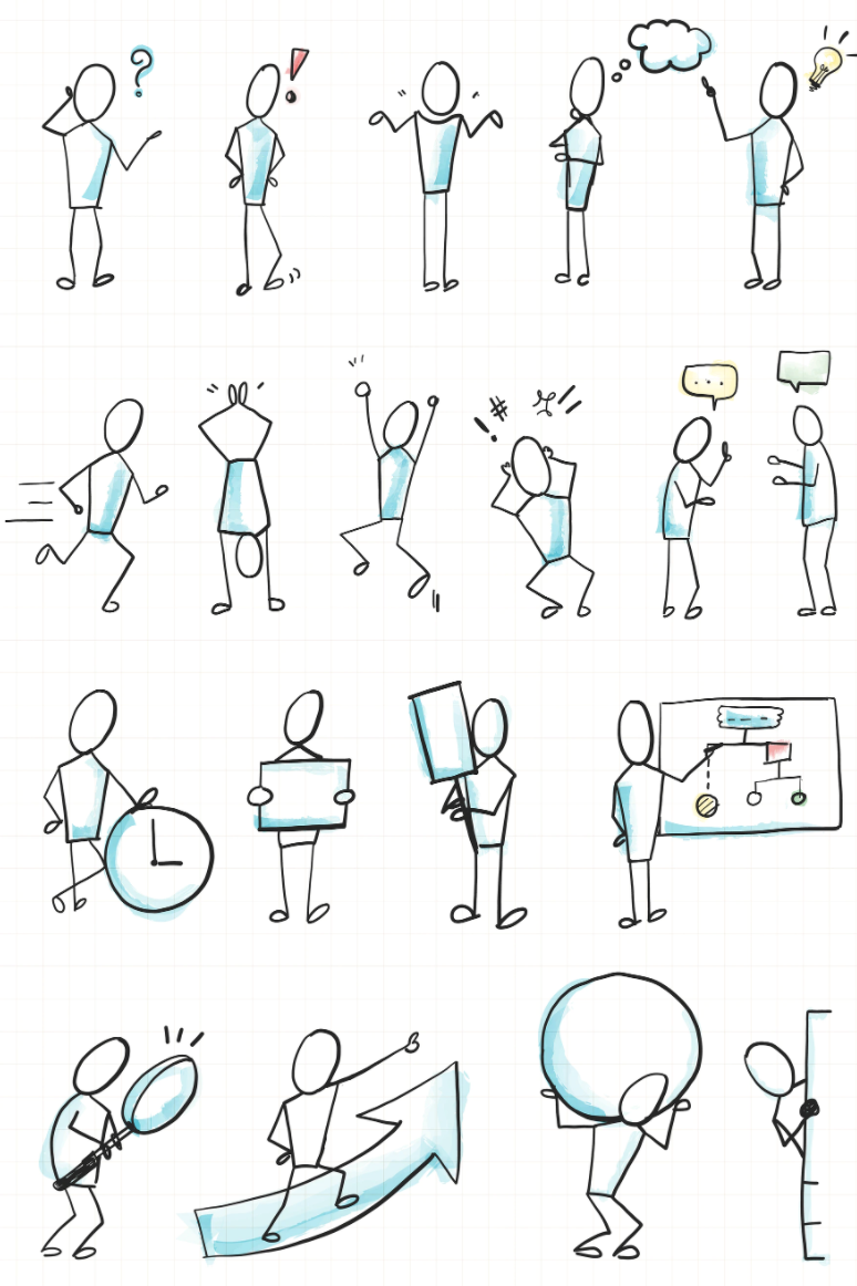 getekende poppetjes om een verhaal spelletje mee te spelen