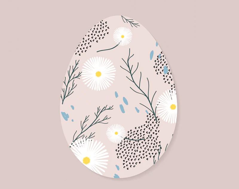 afbeelding van een ei met versiering voor het spelen van het ei spelletje