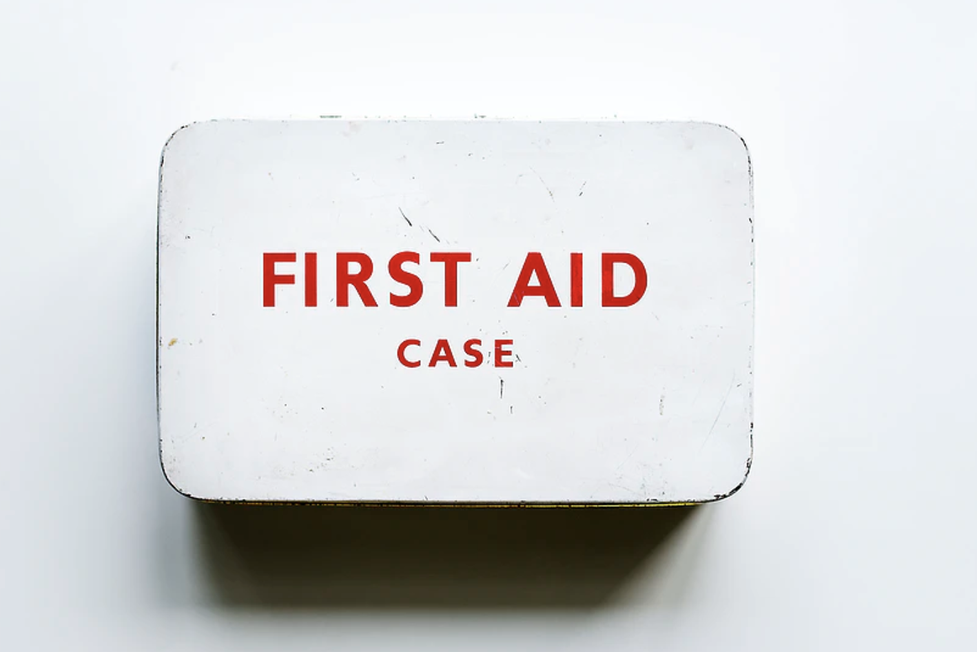 image of first aid for nanny kit, this kit is used in the course whit with red cross on the front