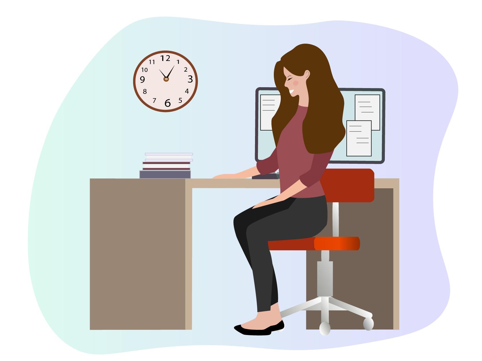 Meisje zit aan bureau