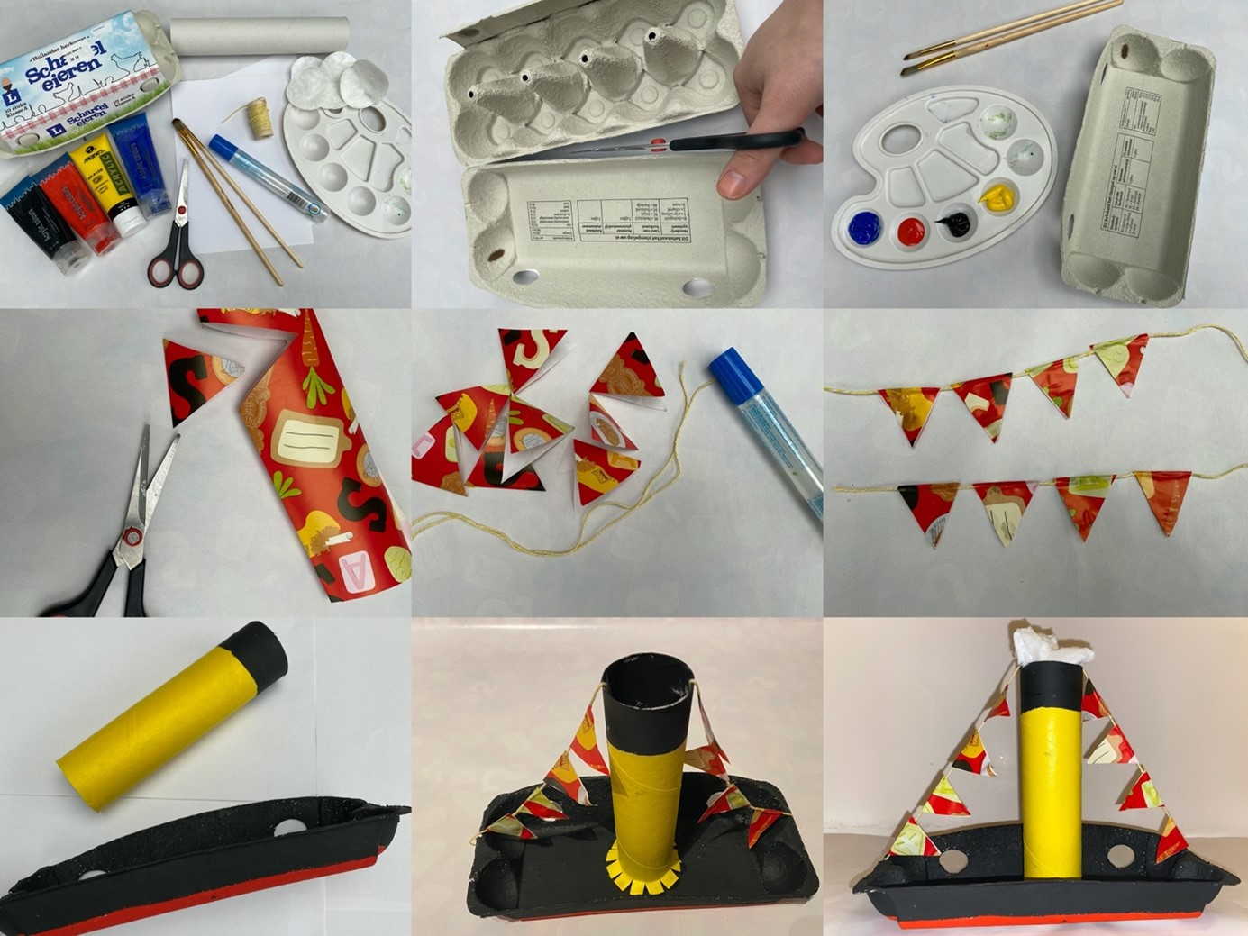 Stappen uitgelegd om met papier, eierdoos, verf, touw en karton een stoomboot te kunnen maken