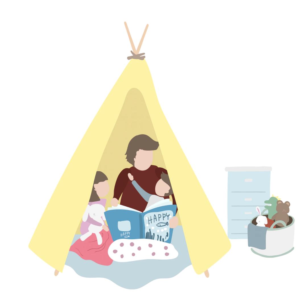 illustratie van een tipi tentje met een moeder die voorlees en twee kinderen ernaast