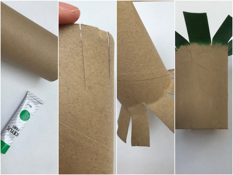 vier foto's van een wc-rol knutsel dat een palmboom wordt